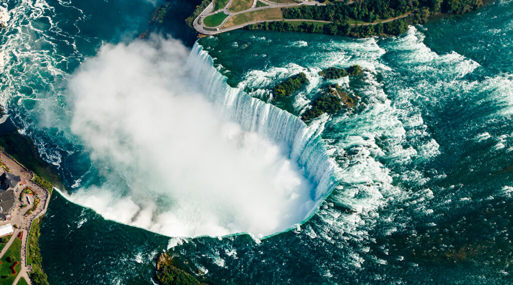 Superb aerial view of the Niagara Falls