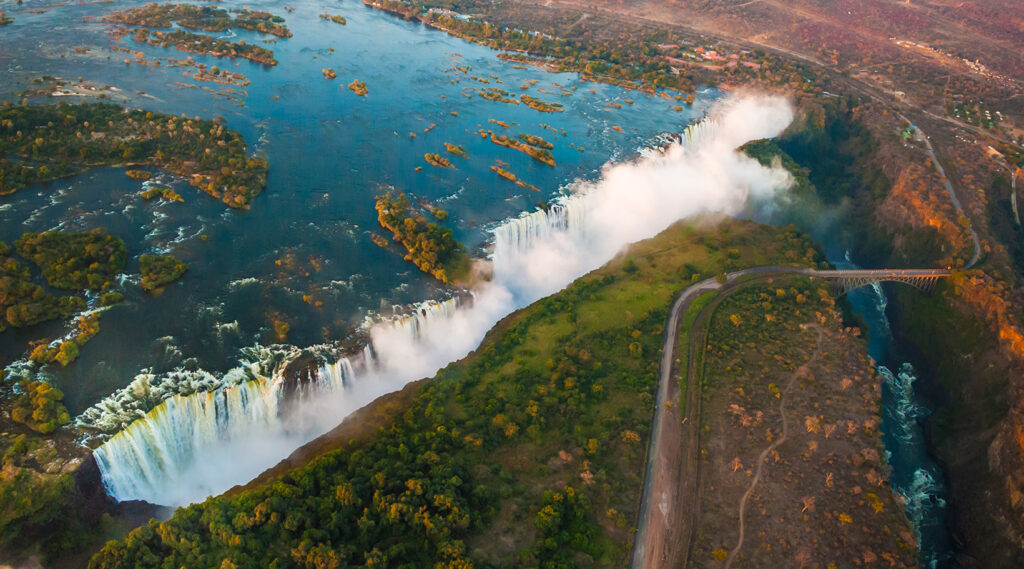 Magnificent view of Victoria Falls from the air