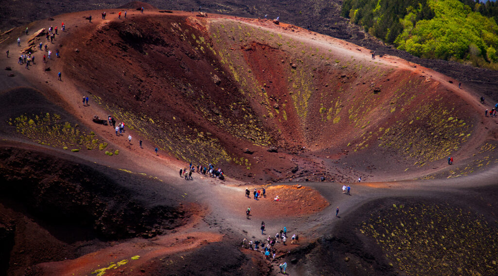 Lava fields and crater of Mount Etna