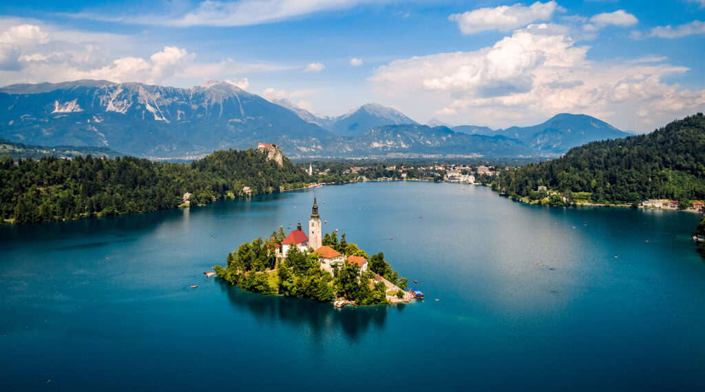 Aerial view of the lake Bled and Bled Island