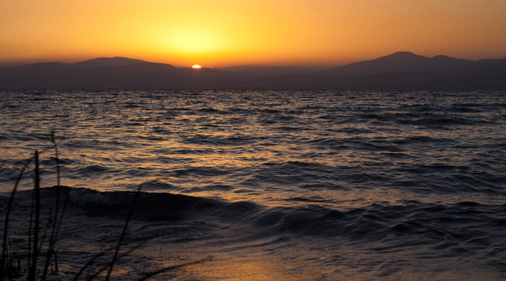 Scene from a sunset from the shores of Lake Tiberias