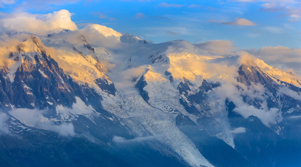 The Mont Blanc massif covered with snow