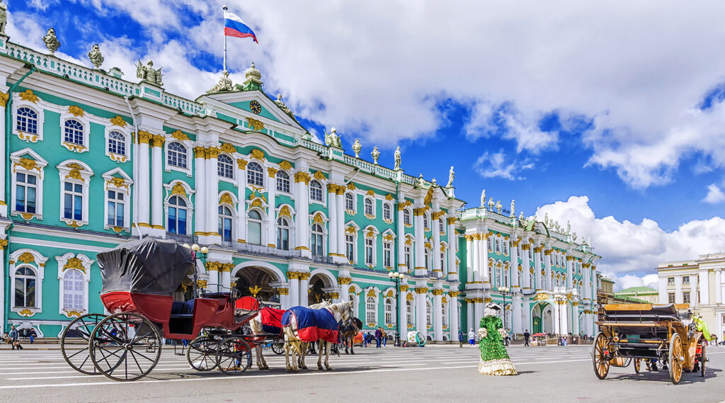 Facade of the Winter Palace building of the Hermitage Museum
