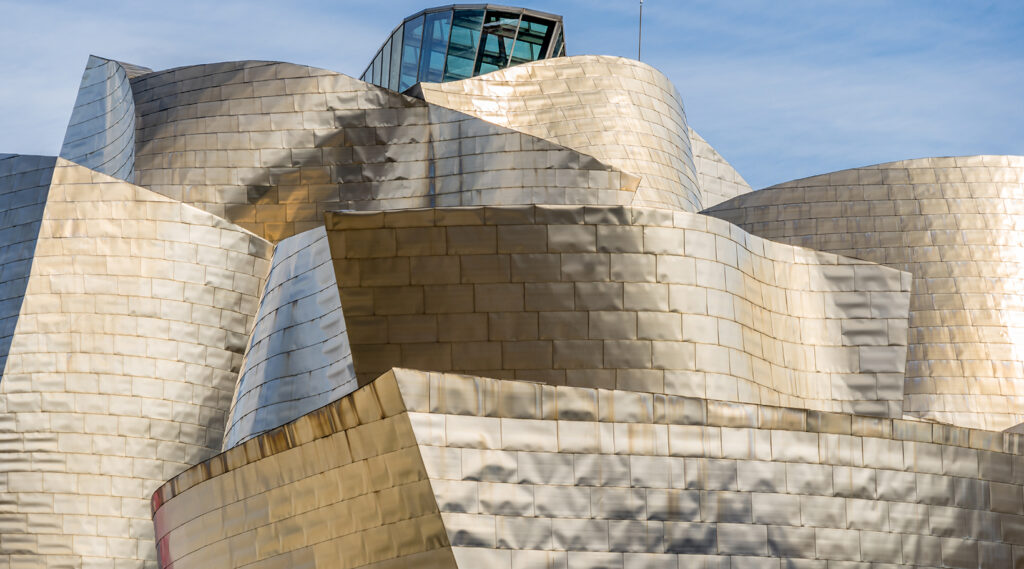 Overview of the titanium, steel, glass and stone structure of the Guggenheim Museum Bilbao