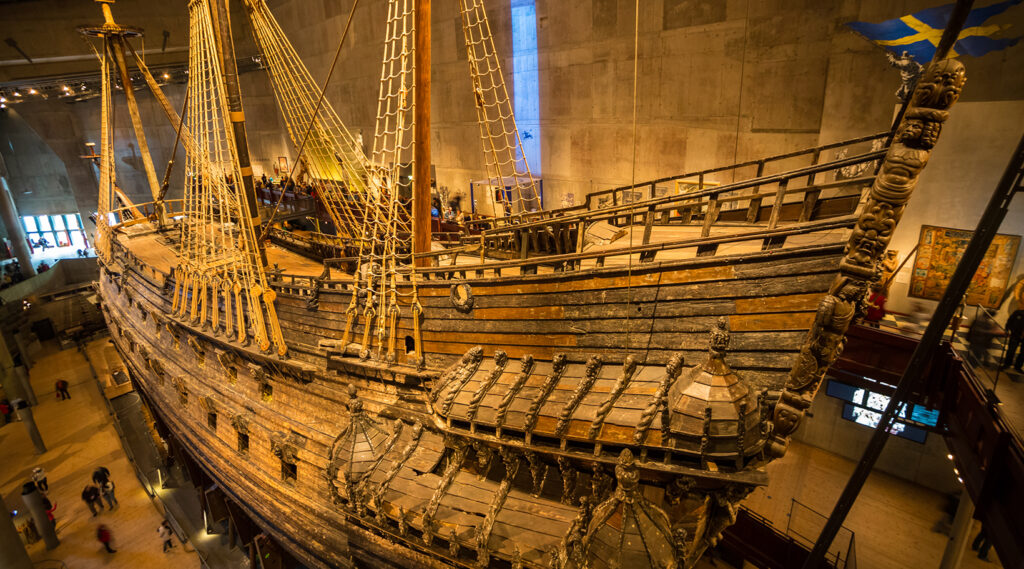 Bow of the Vasa warship in the eponymous museum of Stockholm