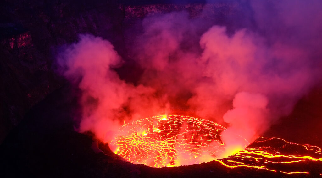 Molten lava lake in the crater of the Mount Nyiragongo