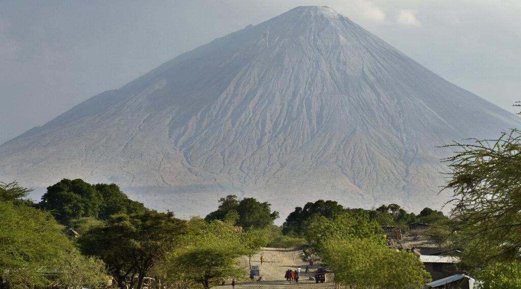 Impressive coastal mass of the Ol Doinyo Lengai volcano