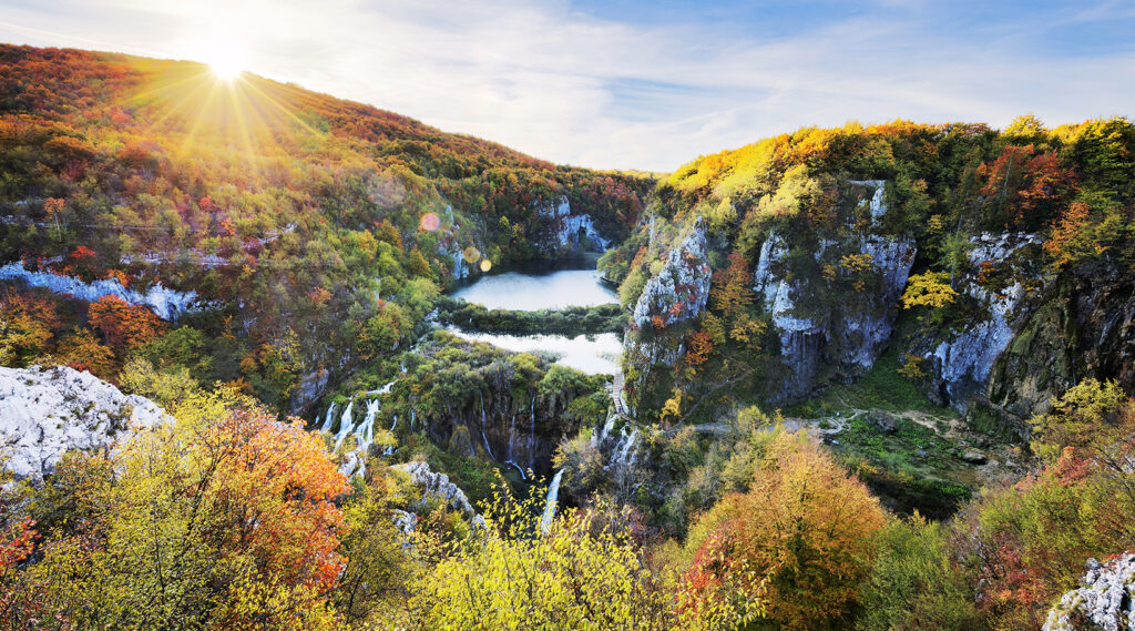 Series of waterfalls in the vegetation supplied from the Plitvice Lakes National Park
