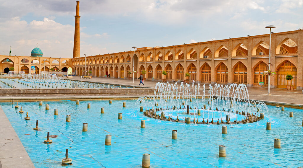 Diving view of the vast esplanade of the Naqsh-e Jahan Square