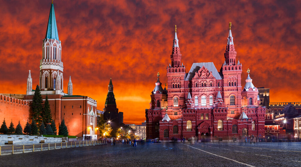 Superb sunset decorating the Red Square in Moscow