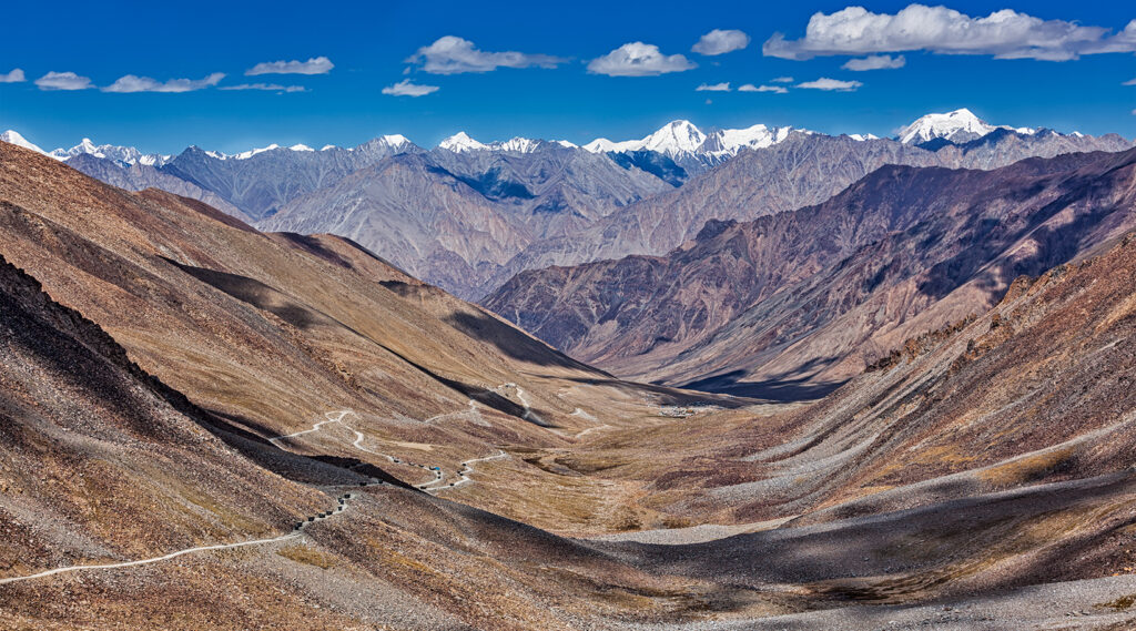 Road criss-crossing the Karakoram mountain range