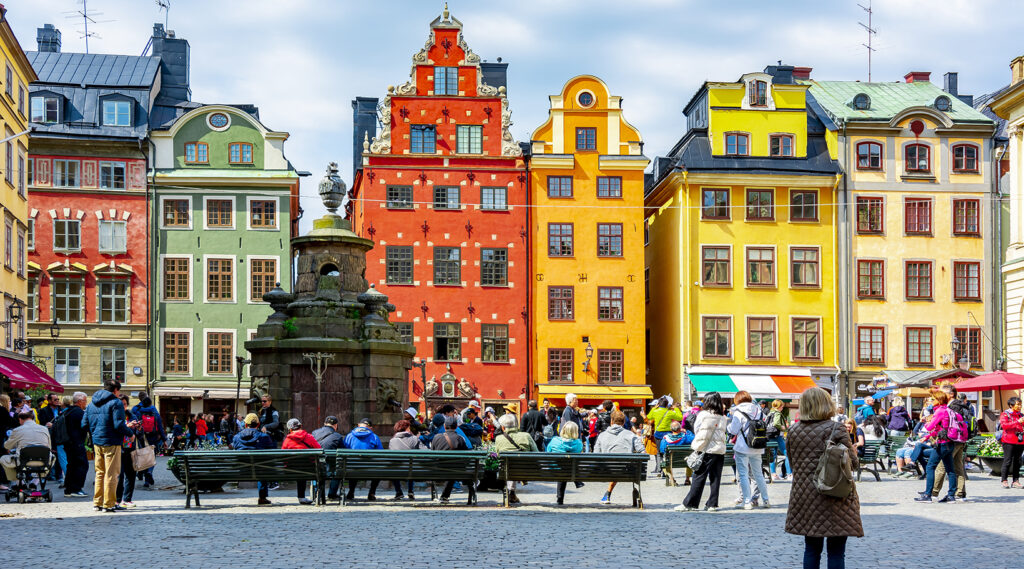 Colourful facades of buildings surrounding the Stortorget Square
