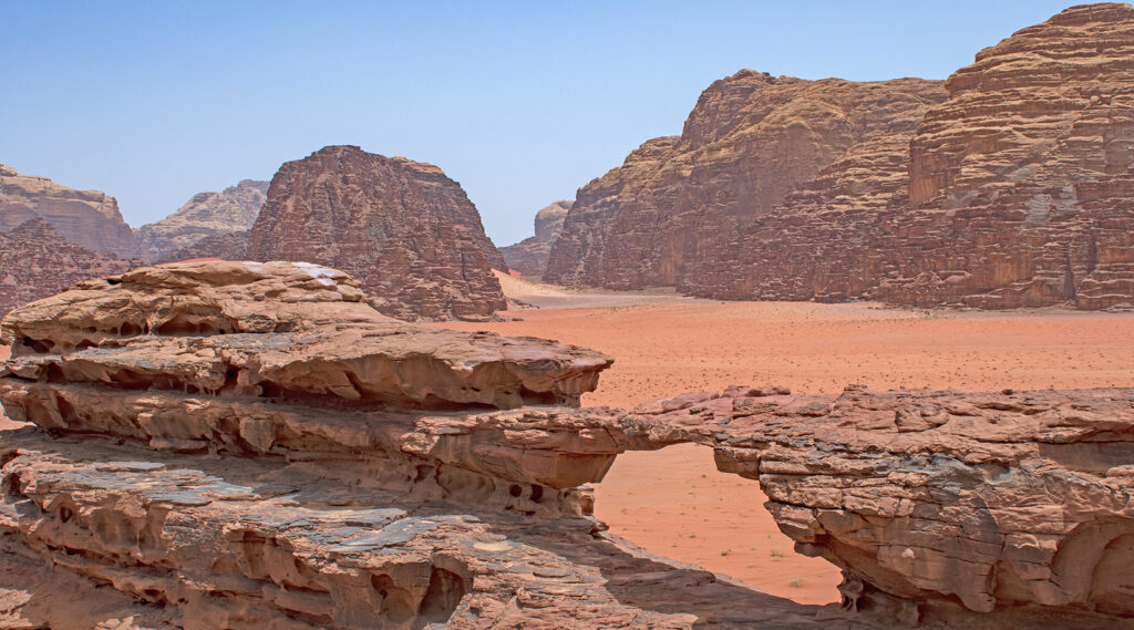 Landscape of Wadi Rum eroded cliffs and rocks